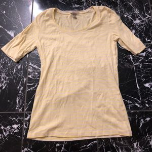 Banana Republic Yellow and White Striped Top